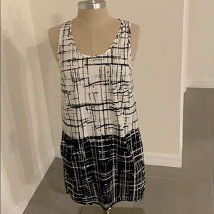 ANN TAYLOR LOFT BLACK WHITE RACERBACK DRESS GU S